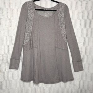 Anthropologie E by Eloise Waffle Lace Long Sleeve